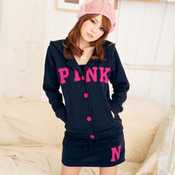 PINK甜心刷毛配色外套+褲裙