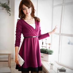 私服手札深V打摺拼接洋裝M-XL (共3色)