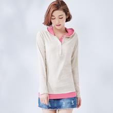 韓版時尚配色長版連帽上衣M-XL (共6色)