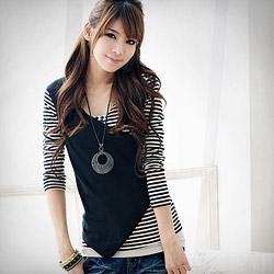 時尚風V領配色條紋瘦腰上衣S-L