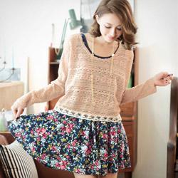 兩件式緹花針織T+花卉背心洋裝(共2色)