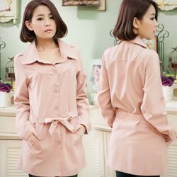 流行風範蜜桃絨反折袖風衣外套-附綁帶