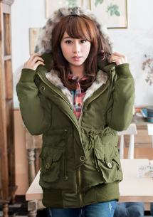 冬氛魅力仿狐狸毛內舖毛連帽厚外套