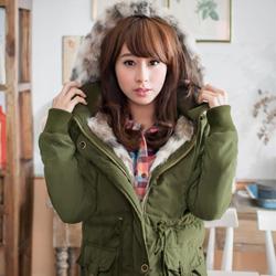 冬氛魅力仿狐狸毛內舖毛連帽厚外套(共3色)