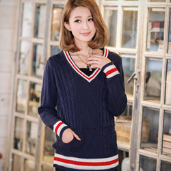 學院風範V領針織配條長版毛衣