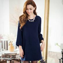 韓版簡約泡袖針織長版上衣(共3色)