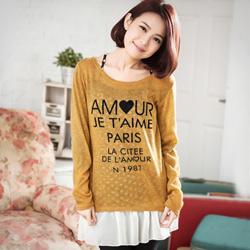 兩件式字母愛心針織T+點點雪紡襯裙(共2色)