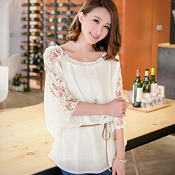 三件式縷空蕾絲袖雪紡衫+背心-附綁繩(共2色)