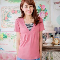 時尚特質V領條紋假兩件短袖上衣S-L(共3色)