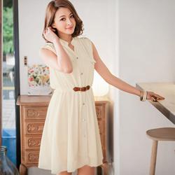 浪漫吸引皮革腰帶造型雪紡洋裝(共3色)