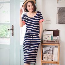 清新俏麗配色袖條紋抽繩洋裝(共2色)