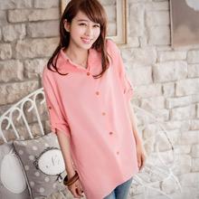 繽紛搭配粉彩反折釦襯衫(共4色)