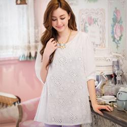 法式細緻質感緹花雪紡袖上衣(白)