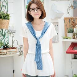 日雜揭載圓點領巾針織洋裝(共2色)