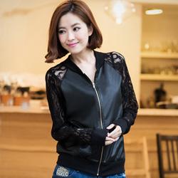 率性女伶蕾絲袖仿皮革外套(黑)
