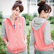 青春活力S字母貼布棒球配色外套(共3色)