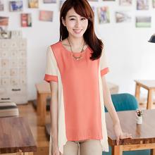 輕雅法式配色雪紡衫(共2色)