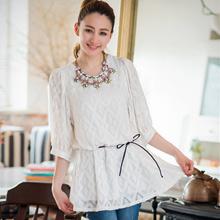 浪漫花包袖壓紋蕾絲洋裝(共2色)