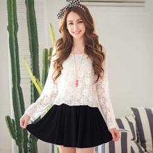 溫柔情感蕾絲接雪紡裙洋裝(共2色)