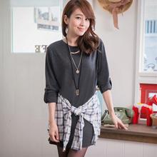 時尚漫步腰綁袖反折釦洋裝(共2色)