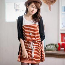 兩件式反折釦外套+條紋洋裝(共2色)