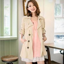 時尚風味反折釦環風衣外套(共3色)