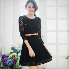 微甜奢華緹花蕾絲修身洋裝 (共2色)