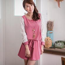 俏甜印象蕾絲袖抽繩洋裝(共2色)