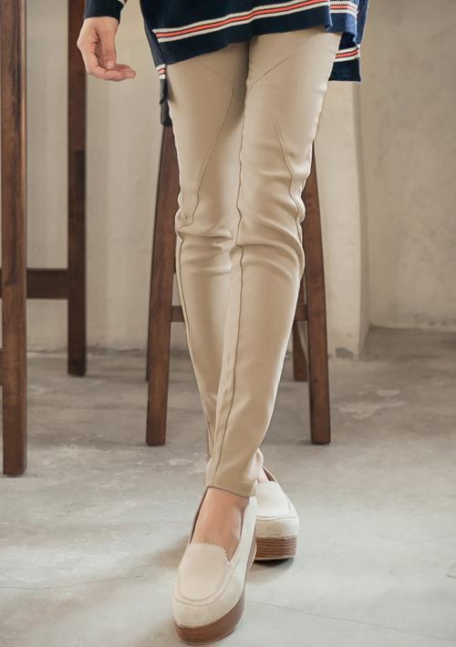 極細修身點點褲頭車線彈性鉛筆褲M-XL