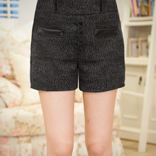 時尚女孩排釦假口袋毛呢短褲M~L