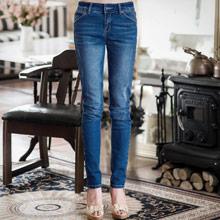 街頭時髦刷色窄管牛仔褲S~XL
