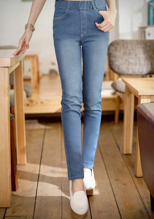 決勝激瘦鬆緊腰刷色牛仔褲S~L
