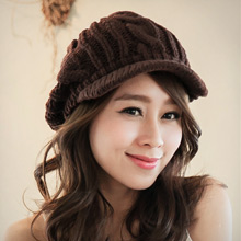 個性韓版針織鴨舌毛線帽