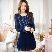 浪漫點點雪紡袖針織洋裝