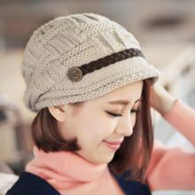 復古鈕釦麻編針織帽