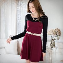 優雅線條收腰顯瘦併色洋裝