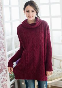 暖意時刻翻領麻花針織毛衣