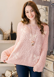 珍珠蝴蝶結針織毛衣