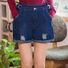 輕閒腰帶反折刷破牛仔短褲M~XL