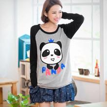 超萌皇冠熊貓長袖T恤