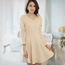 優雅菱格紋珍珠圓領洋裝M~L