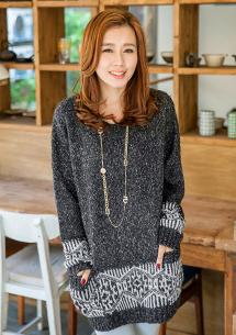 韓風復古圖騰造型針織衫