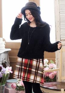 兩件式毛海上衣-附格紋洋裝
