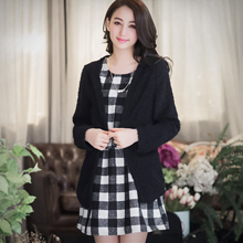 黑白格紋洋裝+毛海外套