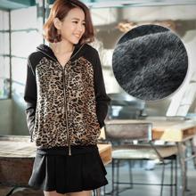 保暖海狸絨豹紋外套+短褲裙