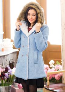 韓版修身毛呢雙排釦茸帽大衣