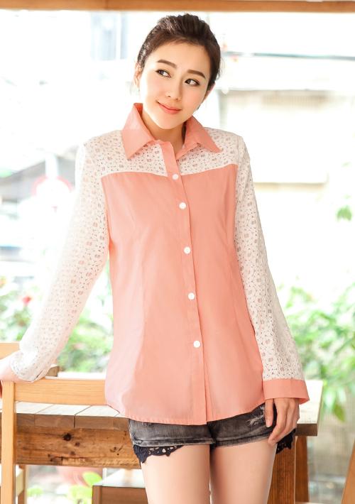 浪漫輕曲蕾絲袖顯瘦襯衫M~L