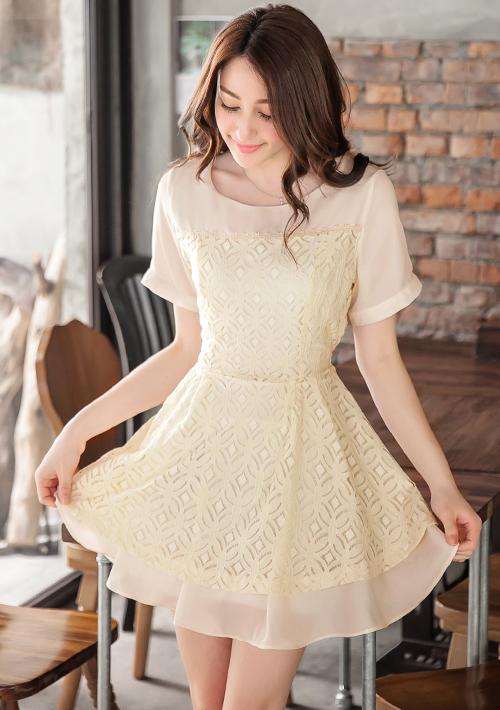 柔美清新雪紡拼接蕾絲洋裝M~L