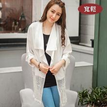 韓系雪紡領蕾絲鏤空外套