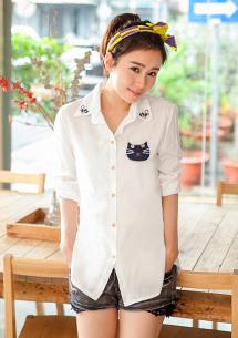 簡約貓咪拼布長袖襯衫M~L
